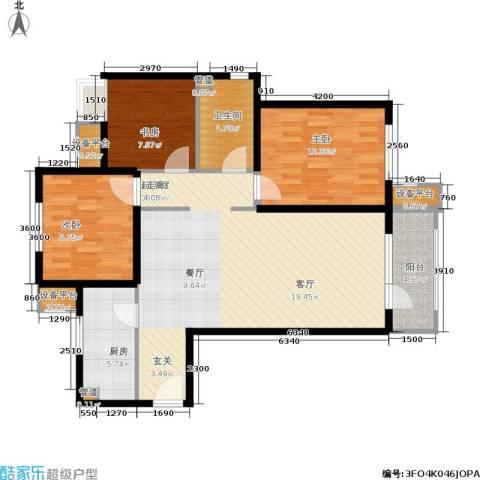 首开璞瑅3室0厅1卫1厨112.00㎡户型图