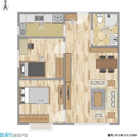 晓月景园2室1厅1卫1厨63.00㎡户型图