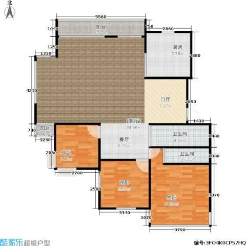 凤起苑3室0厅2卫1厨107.00㎡户型图