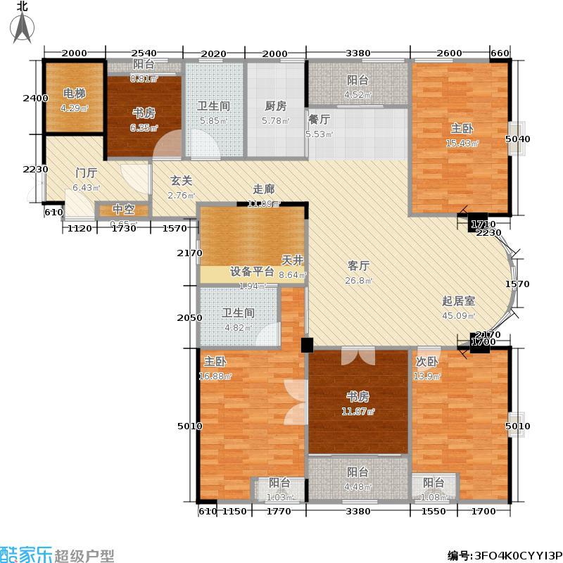 九衡公寓169.00㎡一期2-6号楼边套面积16900m户型