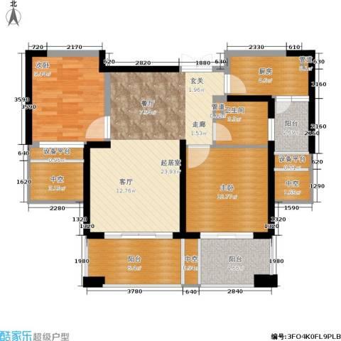 世茂・江滨花园2室0厅1卫1厨86.00㎡户型图