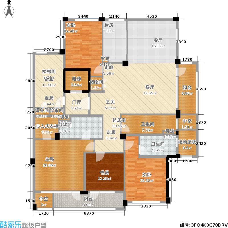紫兰公寓215.00㎡6号楼东边套K户面积21500m户型