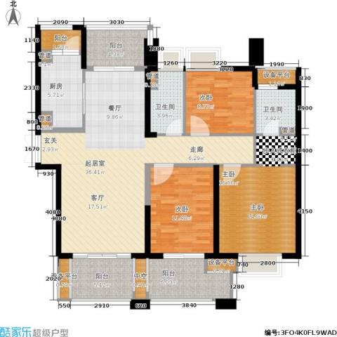 世茂・江滨花园3室0厅2卫1厨124.00㎡户型图
