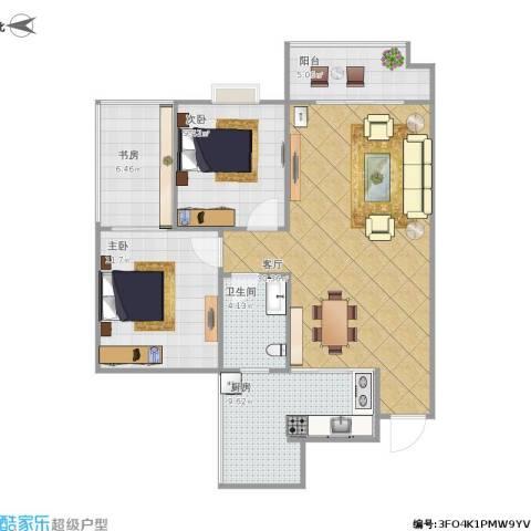 兴发金域丽江3室1厅1卫1厨103.00㎡户型图