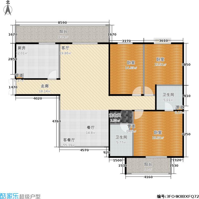 国典华园153.88㎡三室二厅二卫户型
