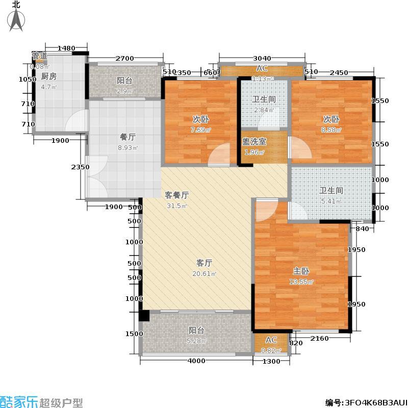 南山雍江汇107.00㎡A1/A1b户型3室2厅2卫