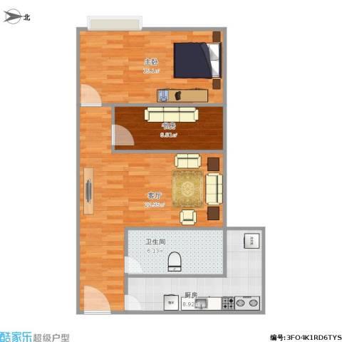 利和国际公寓2室1厅1卫1厨81.00㎡户型图
