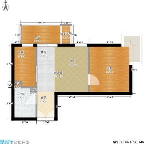 东恒时代一期1室0厅1卫1厨54.00㎡户型图