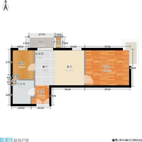东恒时代一期1室0厅1卫1厨62.00㎡户型图