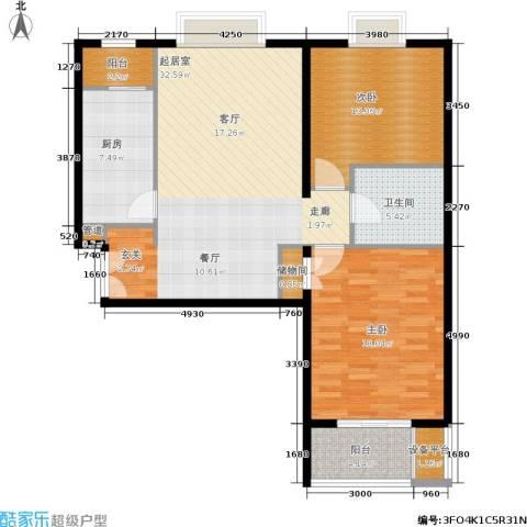 东恒时代一期2室0厅1卫1厨95.00㎡户型图