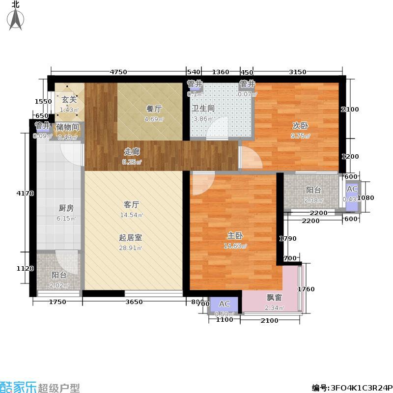 鸿业兴园92.97㎡01号楼B6反面积9297m户型