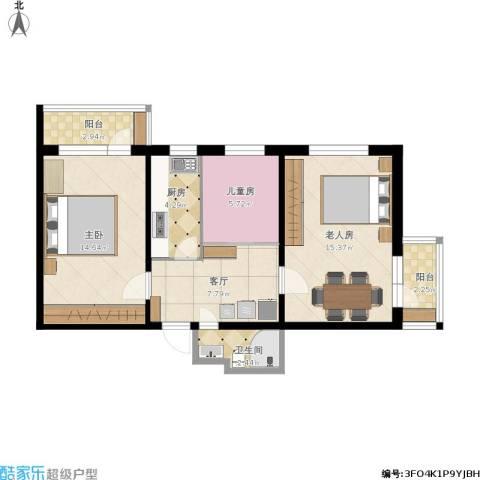 车道沟南里3室1厅1卫1厨80.00㎡户型图
