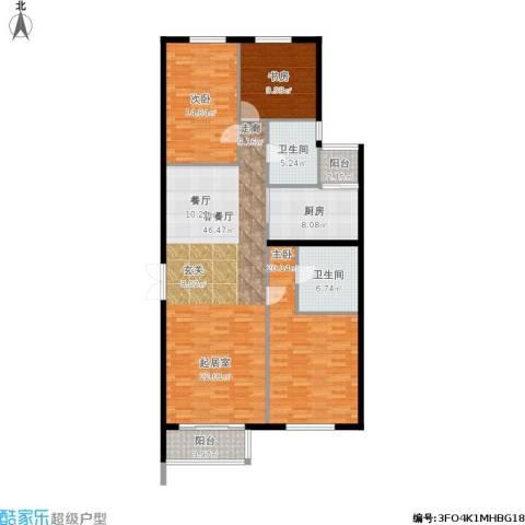 北京华侨城3室1厅2卫1厨162.00㎡户型图