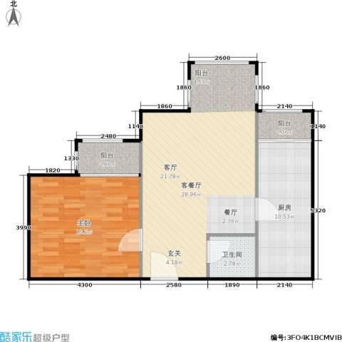 蝶翠华庭1室1厅1卫1厨68.00㎡户型图