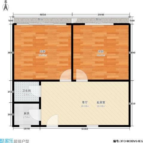 双眼井巷2室0厅1卫1厨60.00㎡户型图