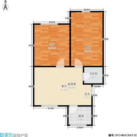 水星阁2室0厅1卫1厨60.00㎡户型图