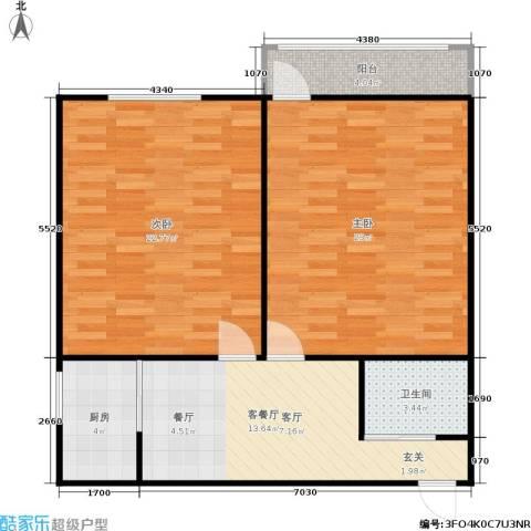 东清大厦2室1厅1卫1厨76.00㎡户型图