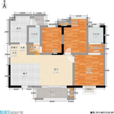 合正锦园3室1厅2卫1厨100.00㎡户型图