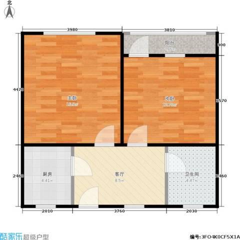 三里亭四区2室1厅1卫1厨54.00㎡户型图