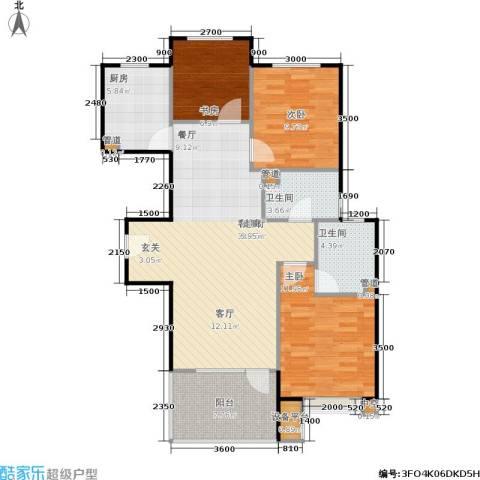 中铁·秦皇半岛3室1厅2卫1厨103.00㎡户型图
