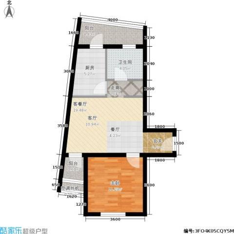 乐城1室1厅1卫1厨66.00㎡户型图