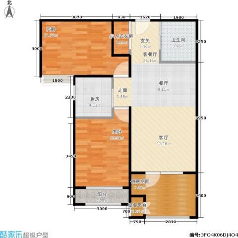 中铁·秦皇半岛2室1厅1卫1厨82.00㎡户型图