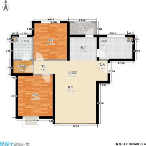 蓝湖郡2室0厅1卫1厨88.00㎡户型图