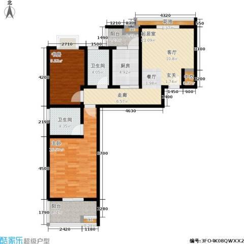 世纪桃花苑2室0厅2卫1厨105.00㎡户型图