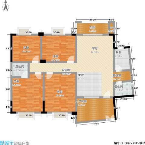 世纪桃花苑4室0厅2卫1厨176.00㎡户型图
