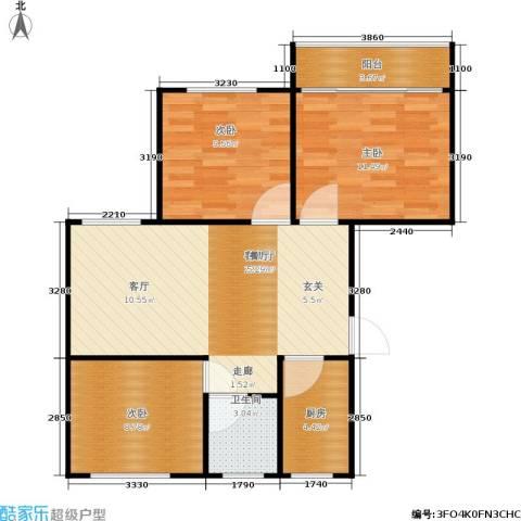 景芳二区3室1厅1卫1厨69.00㎡户型图