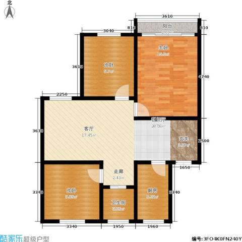 景芳二区3室1厅1卫1厨85.00㎡户型图
