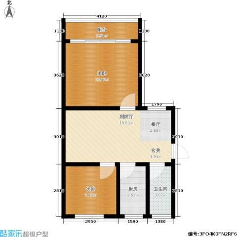 景芳二区2室1厅1卫1厨54.00㎡户型图