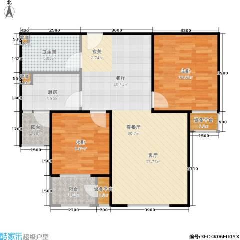 三田雍泓·青海城2室1厅1卫1厨91.00㎡户型图