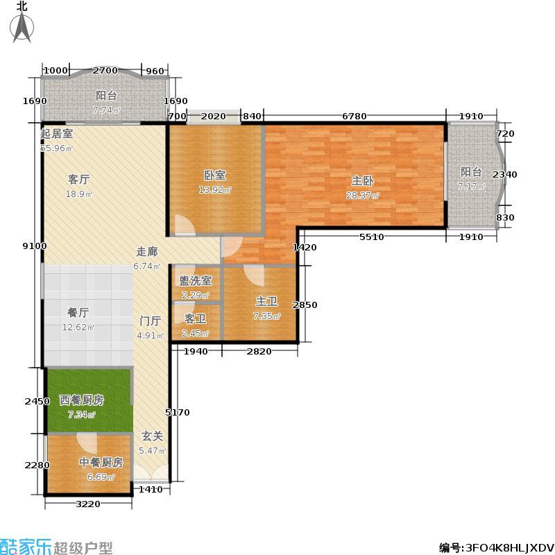长岛港湾142.55㎡二室二厅二卫户型