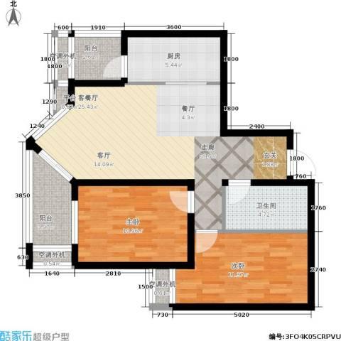 乐城2室1厅1卫1厨90.00㎡户型图