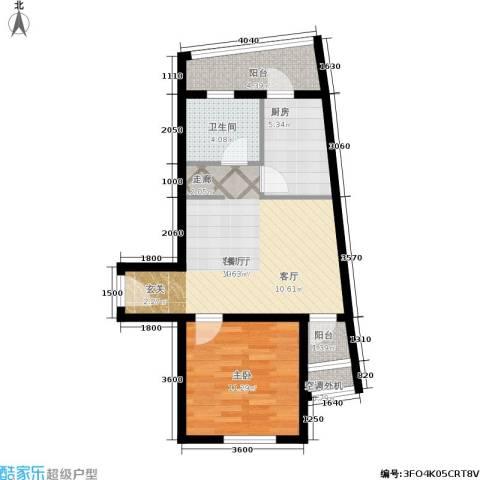 乐城1室1厅1卫1厨64.00㎡户型图