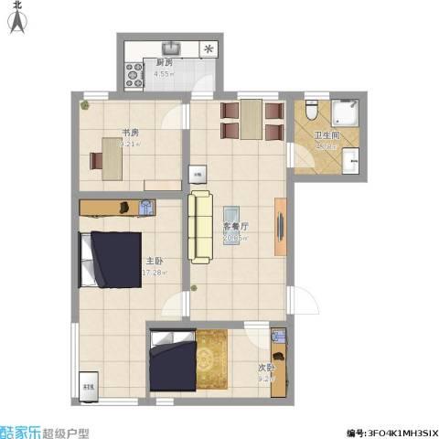 文泰康城3室1厅1卫1厨95.00㎡户型图