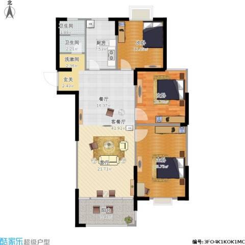 滨河新天地3室1厅2卫1厨143.00㎡户型图