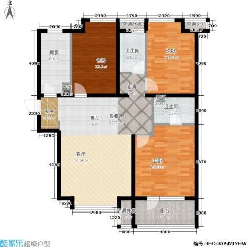 荣盛・白鹭岛3室1厅2卫1厨118.00㎡户型图