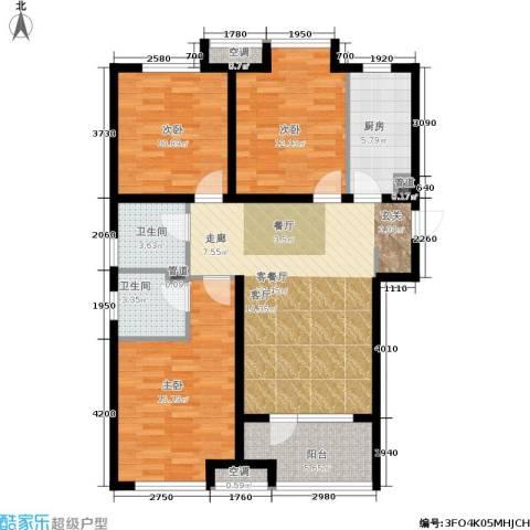 荣盛・白鹭岛3室1厅2卫1厨99.00㎡户型图