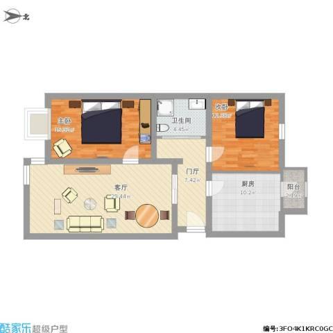 龙跃苑东四区2室1厅1卫1厨113.00㎡户型图