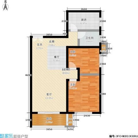 白沙湾嘉园2室0厅1卫1厨69.84㎡户型图