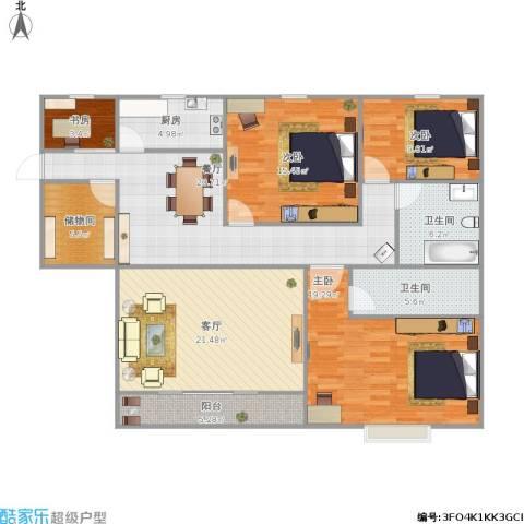 锦城丽景4室2厅2卫1厨158.00㎡户型图
