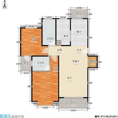 爱盛家园2室1厅2卫1厨106.00㎡户型图
