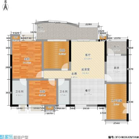 富力银禧花园3室0厅2卫1厨125.00㎡户型图