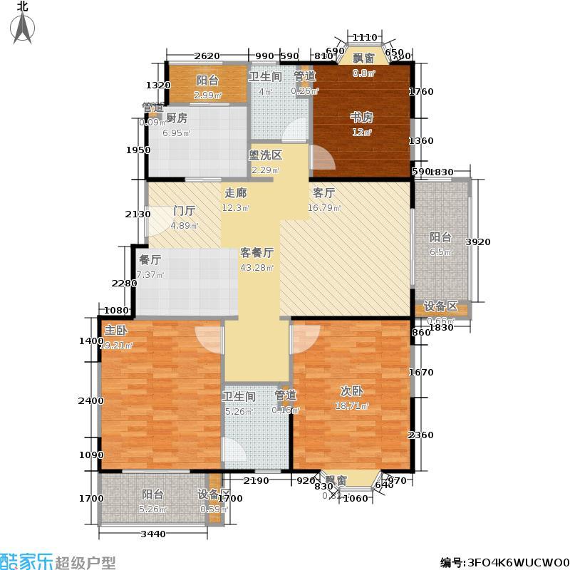 公园养生豪庭126.60㎡多层 三室二厅二卫126.6平方米户型