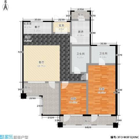 北京曜阳国际老年公寓2室0厅2卫1厨124.00㎡户型图
