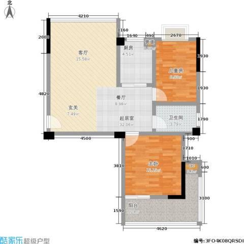 瑞都华庭2室0厅1卫1厨86.00㎡户型图