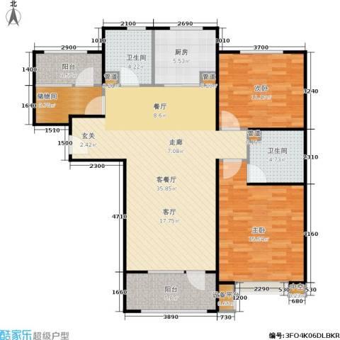 中铁·秦皇半岛2室1厅2卫1厨119.00㎡户型图
