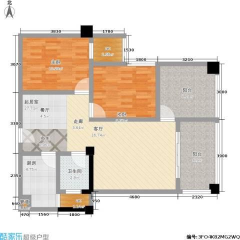 瑞都华庭2室0厅1卫1厨96.00㎡户型图
